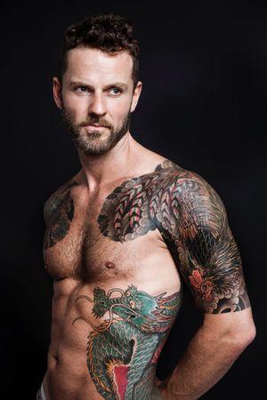 Matthias Kirwald #roostertattoo #dragontattoo #sleevetattoo #japanesetattoo #ryu #bodysuittattoo