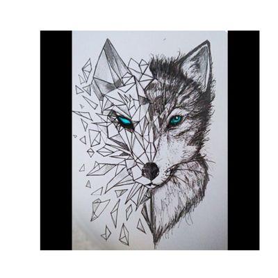 #wolf #blue #triangle #broken #black
