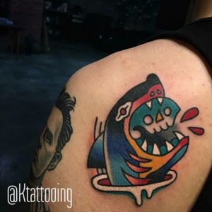 #shark eating a #skull in #color  by #tattooartist #ktattooing @ktattooing #gemtattoostudio #Seoul