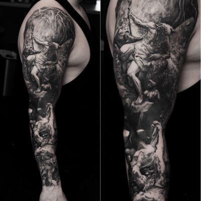 Sleeve in Progress 🔱 radurusu #tattoo #tattooartist #artist #tattoos #tattoostudio #tattoorealistic #tattoodo #uktta #tattoolife #tattooistartmag #wearesorrymom #skinartmag #tattooart #blackandgrey #realism #portrait #blackandgreyrealism #realistictattoo #sleeve #Poseidon #greekmythology #greekgod