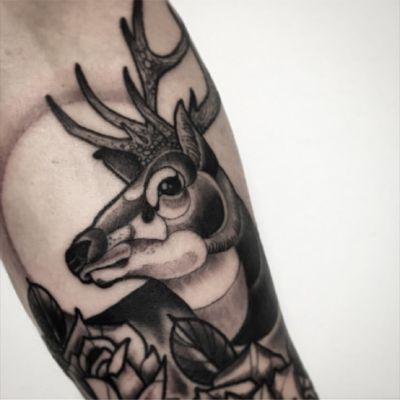 Ongoing sleeve snapshot #danberry #tattoo #animaltattoo #stag
