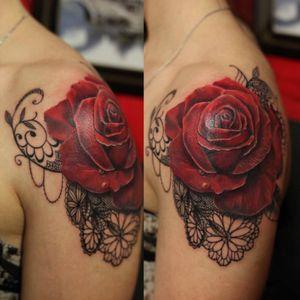 #lace #rose #redrose#shoulder