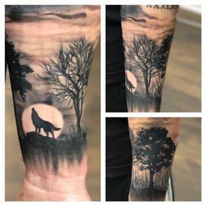 #tree #wolf #moon #sillhouette