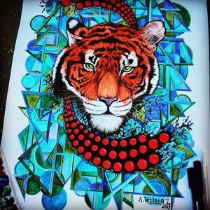 #AbstractWatercolor #watercolorart #tiger #geometricwatercolor #staugustinetattooartist