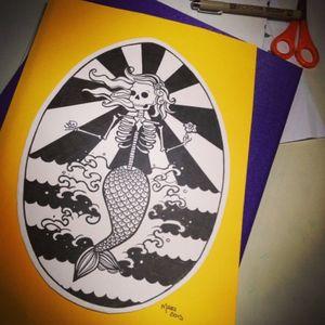 Sereia #mermaid #deadmermaid #blackAndWhite #skull #sereia #lovetattoobrasil #GaleriaGralato