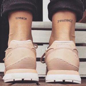 Looks like an awesome Reebok ad! Create yourself ✌️⭐️ Simple lettering tattoo #lettering #inspiring #inspiration #createyourself #reebok #letteringtattoo #words via Instagram @minimalistic.tattoos