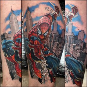 Spiderman #tattoooftheday #tattoo #tattooart #tattooartist #comictattoo #comicbook #spiderman #marvel #marveltattoo #colourtattoo #superhero