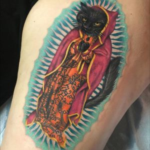 Love doing fun cat tattoos like this one! #guadalupe #catolupe #cattattoo #cattoo #cat