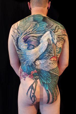 Great blue heron back piece tattoo #heron #blueheron #blueherontattoo #backpiece #fishtattoo #aubreymennella