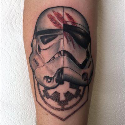 Half imperial/half new order stormtrooper helmets from a couple weeks back #starwars #stormtrooper #neotrad