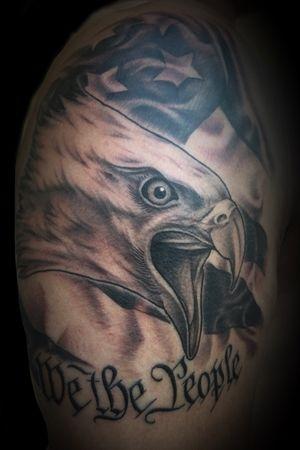 Eagle, flag and lettering on a shoulder #tattooartist #tattooart #blackandgrey #floridatattooartist #lettering #blackandgreytattoo #militarytattoos