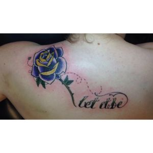 This one I got done in Late October, my boyfriend I had just broken up and we were together for a little over two years. What is the relationship that basically taught me that I need to respect and stand up for myself more and that made me think of my grandma passed away when I was in middle school. Her name is Roseanne hence the Rose, her favorite song was Let it be, and her favorite color was purple. What was really cool about this tattoo was that I had the bee originally in the sketch, so when the whole thing was done my artist suggested the dots that tie-into the letters and I absolutely loved it it was perfect. #rose #purplerose #yellow #quote #bee