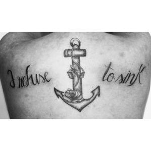 #anchor #anchortattoo #irefusetosink #irefusetosinktattoo #lettering #flower #flowertattoo #blacktattoo #blacktattooart