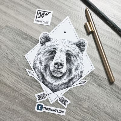 Bear with arrows, a design symbolizing power, control and stability. Get it: www.rawaf.shop #dotwork #bear #arrows #arrow #dotworktattoo #beartattoo #arrowtattoo