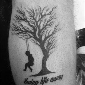 My first ever tattoo #swing #life #away #MGK #lyrics #leg #tree #swing #tattoo