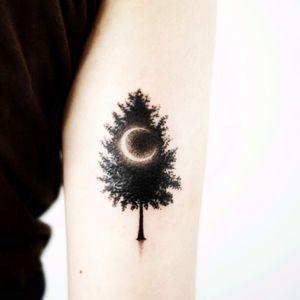 #tattooistdoy#nature #tree #moon