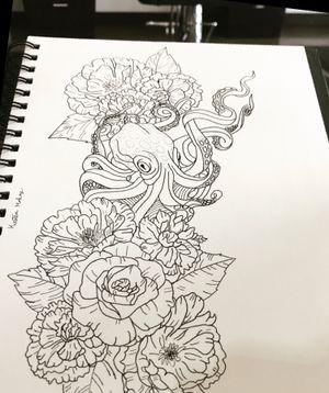 #octopustattoo #peonytattoo #tattooartist #tattoodesign #originaldesign