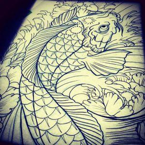 Koi Line Drawing #tattooart #drawing #linedrawing #koifish #japanese