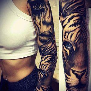 Amazing! Artist unknown#sleeve#woman#eye#tiger
