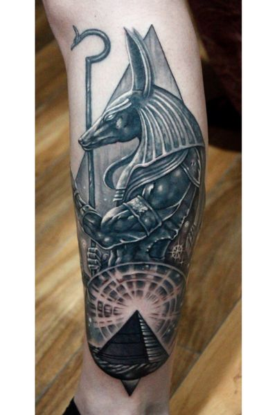 Custom #Anubis #egyptian #god #mythology #underworld #jakal #badass #blackandgray #blackandgrey #bng tattoo by Sean Ambrose at Arrows and Embers Custom Tattoo. Thanks for looking! #tattoooftheday
