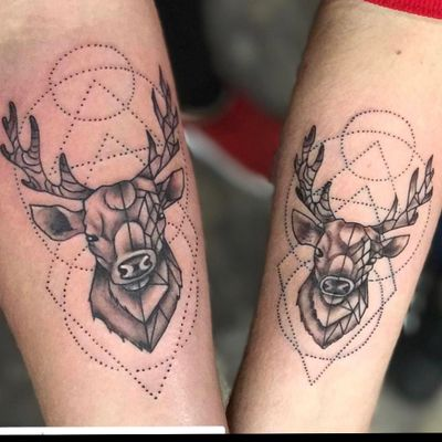 • His and Hers • Matching Stags #blackcatink #lafincagolf #algorfa #walkinwednesday #stag #inked #geometrictattoo #stagtattoo #tattoostudio #tattooartist #inkedup #inkedchicks #costablanca #inkedlads #costablancatattoo
