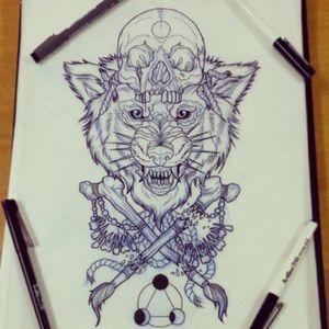 Really beautiful wolf and skull design #skull #wolf #pen #design