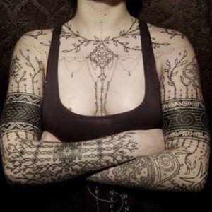 #sleeves #chest #black #armbands #dotwork #linework #ornamental -by #tattooartist #WatsunAtkinsun