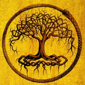 For my #dreamtattoo, i would love a modified version of an #ouroborus and #yggdrasil similar to this image, but allowing the artist reign to give it pops of color and make it more modern while keeping the ideology of life and the imagery of a cycle.