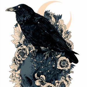 Raven, moon and skull tattoo design #raven #skull #moon