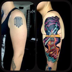 #sandrosecchin #riotattoo #oldlondonroadtattoos @oldlondonroadtattoos #CoverUpTattoos #lighthousetattoo #storm #colortattoo #girlytattoo #tattooedwoman #tattoo #tattoodo #tattoo2me #tguest #tattooarmadasubmission #tattooersubmission #braziliantattooartist #GirlsWithTattoo