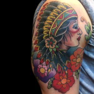 Tattoo by Simone Lubrani #color #colortattoo #traditional #traditionaltattoo #nativeamerican #nativeamericangirl #girlhead #girlheadtattoo #oldschoolgirlhead #simonelubrani  #artist  #tattoo #tattoos #tat #tats #tatts #tatted #tattedup #tattoist #tattooed #tattoooftheday #inked #inkedup #ink #tattoooftheday #amazingink #bodyart #LarkTattoo #LarkTattooWestbury #NY #BestOfLongIsland #VotedBestOfLongIsland #BestOfNYC #VotedBestOfNYC #VotedNumber1 #LongIsland #LongIslandNY #NewYork #NYC #TattoosEvenMomWouldLove  #NassauCounty