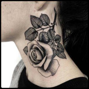 #black #rose #neck #tattoo #blackwork #totemica #ontheroad