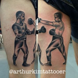 Boxers in action #hiptattoos #tattoo #boxer #boxers #classictattoos #arthurkimtattooer