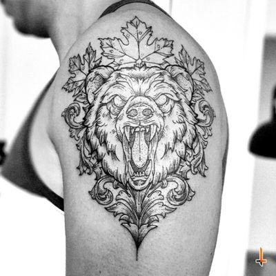 Nº359 #tattoo #tatooed #ink #inked #bear #beartattoo #maple #mapleleaf #mapleleaftattoo #ornamets #ornamental #ornamentaltattoo #blackwork #blacktattoo #eternalink #cheyennetattoo #cheyennetattooequipment #hawkpen #bylazlodasilva Bear designed by another artist