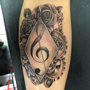 #music #rose #gears #blackandgrey #Geometrical