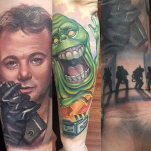 Ghostbusters tattoo sleeve in works . Bill Murray and Slimer. Tattoos done by Halo Jankowski @ Black Lotus Tattoo Gallery in Hanover, MD. I was one of the 9 lucky ghotsbuster fans that was chosen to be on the Ghostbuster special on Jimmy Kimmel Live to share our tattoos on the wall of America via webcam! Though we ran outta time and some of us didnt get chance to show our ink. It was an amazing experince seeing my ugly mug on tv behind my childhood heroes! Big thanks to Halo and the people at #Jimmykimmellive for making a dream come true! #BillMurray #Ghostbusters #Slimer #movie #movies #moviecharacter #portrait #colortattoo #colortattoos #realistictattoo #Ghost #celebrity #dreamtattoo #portrait