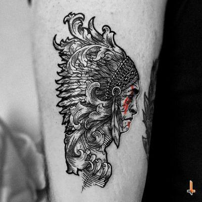 Nº372 #tattoo #tattooed #tatuaje #ink #inked #apache #apachetattoo #chief #nativeamerican #trueamerican #tribe #southwestern #feathers #ornamentaltattoo #ornamental #ornaments #oldman #wise #father #warpaint #eternalink #cheyennetattoo #cheyenntattooequipment #hawkpen #bylazlodasilva