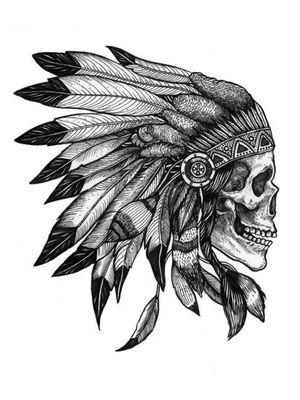 Native american skull/feather crown skull