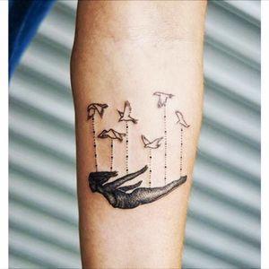 Hold me! Beautiful tattoo design by ugurhasekin 🕊#blackwork #birds #girl #ugurhasekin