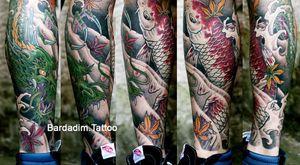Japanese tattoo. Japanese sleeve. #koi #japanese #japanesetattoo #halfsleeve #irezumi #japanesesleeve #colortattoo #koifish #tattooartist #tattooart #bardadim #legsleeve