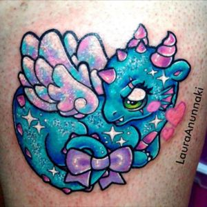 Cute blue dragon tattoo #bow #dragon #pastel