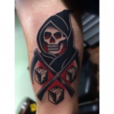 Dicing with Death for Tobias from a while back! #lewishazlewood #lewishazlewoodtattoo #staganddaggertattoo #somerset #uk #traditional #traditionaltattoo #death #deathtattoo #grimreaper #grimreapertattoo #reaper #reapertattoo #dicingwithdeath #dicingwithdeathtattoo #colourtattoo