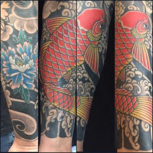 #japanese #sleeve #koi #peonies #tattoosbyrodrigocanteras #lovehatenewyork