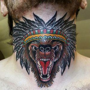 New one. Amazing work by Aurel Audhoui! His instagram : Aurelwbn #tattoo #bear #neotrad #fatline #traditional #traditionaltattoo #indian #oldlines #fatlines #dijon #france #neck #necktattoo #colours #colour