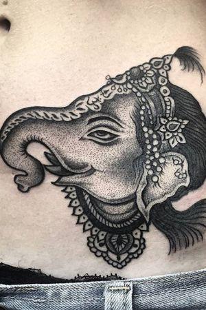 Done by me at Yama Tattoo Studio, Roma. #ganesh #ganeshtattoo #tattoos #hindu #hindutattoo #dotwork #akuma #yamatattoostudio #roma #rionemonti