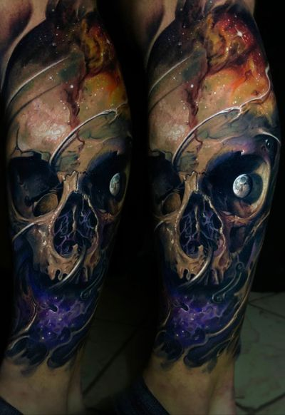 #skull #skulltattoo #darkness #horror #evil #tattoo #vainiusanomaly #realism #realistic #realistictattoo #color #creepy #space #3d #planet