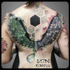 #geometric #abstract #watercolor #watercolortattoo #abstracttattoo #geometrictattoo made @ #absolutink by #skinkorpus #watercolorartist #tattooartist