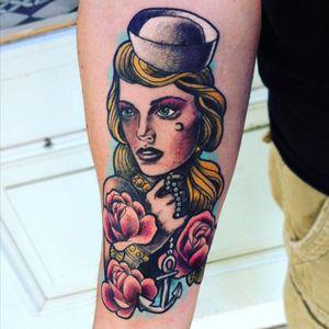 My new lady #neontattoo #neotraditional #newtattoo #cyprus #kompi #tattoo #sailorgirl