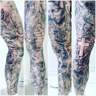 Legsleeve ✌🏻#legsleeve #fullsleeve #sleeve #good #evil #cross #virginmary #flowers #lily #rose #skull #demon #angel #saint #heaven