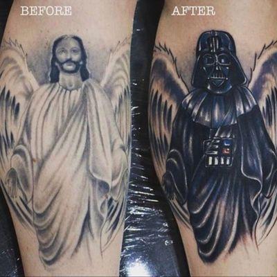 Great #coverup - #god to #darthvader #blackandgrey #danclark @dan_clark_tattoo_artist